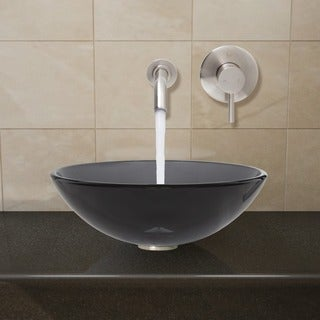 VIGO Brushed Nickel Sheer Black Glass Vessel Sink and Wall Mount Faucet Set