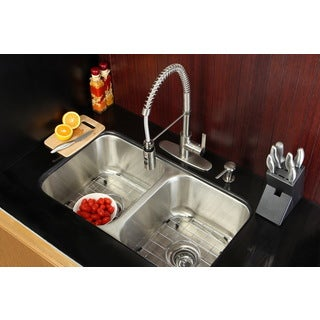 Undermount Stainless Steel 31 Inch Double Bowl Kitchen Sink And Faucet Combo