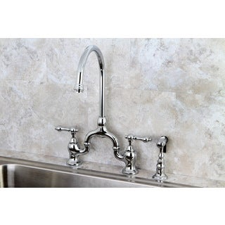 Vintage Polish Chrome High Spout Chrome Bridge Kitchen Faucet With Side  Sprayer
