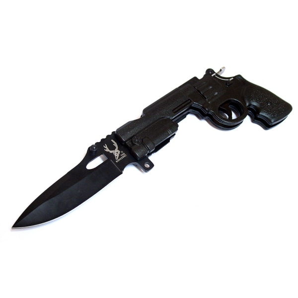 9-inch The Bone Edge Gun Style Folding Knife Black