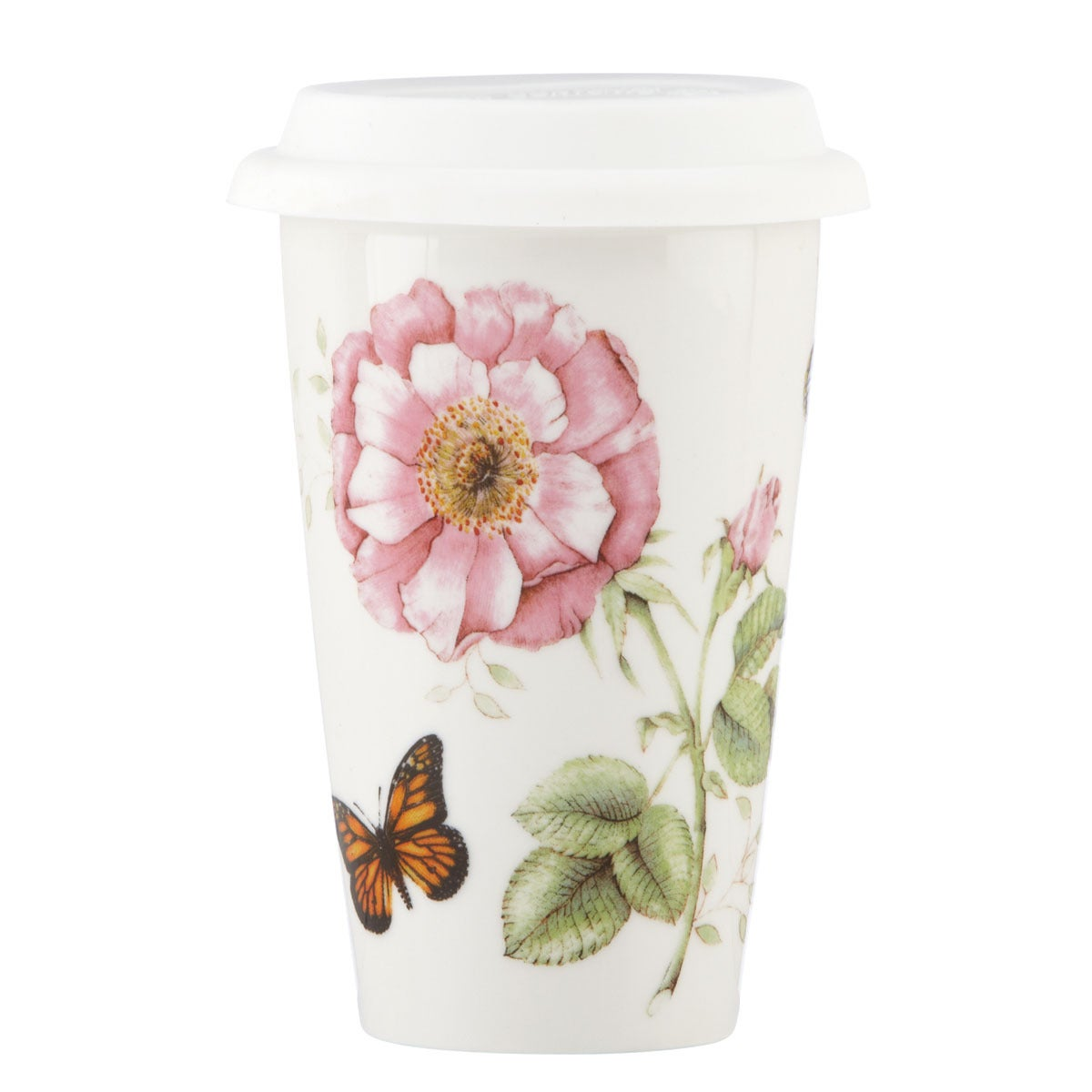 Lenox Butterfly Meadow Travel Mug, White (Ceramic, Garden)