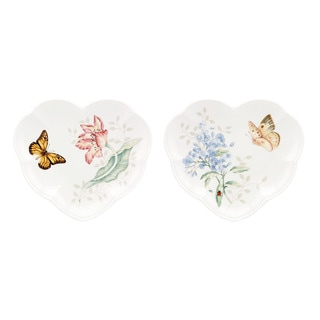 Lenox Butterfly Meadow 2-piece Heart Party Plate Set