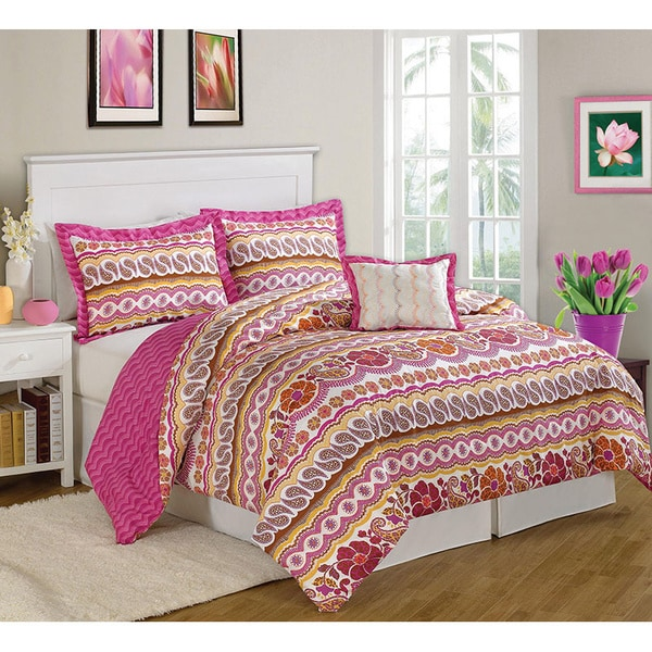Paisley Dream Pink 8-piece Bed in a Bag with Sheet Set