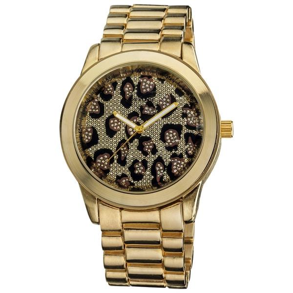 Vernier Women's Boyfriend Gold Leopard Glitter Dial Quartz Watch