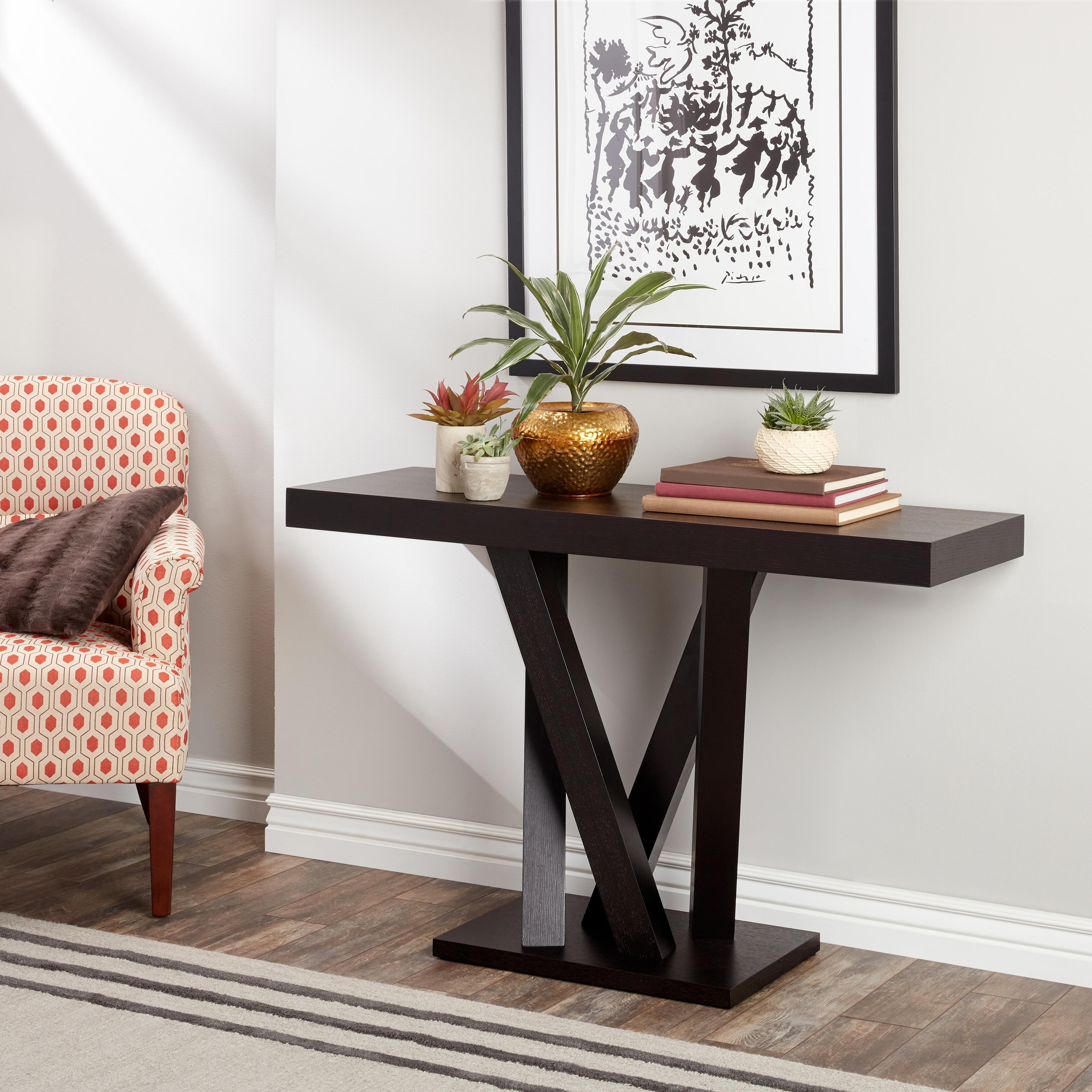 Abbyson Cosmo Espresso Wood Sofa Table (Espresso), Brown