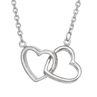 Gioelli Sterling Silver Interlocking Double Heart Necklace
