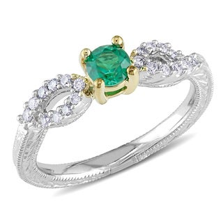 Miadora 14k Two-tone Gold Created Emerald and 1/8ct TDW Diamond Ring (G-H, I1-I2)