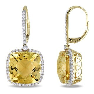 Miadora Signature Collection 14k Yellow Gold Citrine and 7/8ct TDW Diamond Earrings (G-H, SI1-SI2)