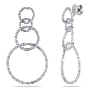 Miadora Signature Collection 18k Gold 2 1/2ct TDW Diamond Circle Earrings|https://ak1.ostkcdn.com/images/products/8504350/Miadora-18k-Gold-2-1-2ct-TDW-Interlocking-Circle-Diamond-Dangle-Earrings-G-H-SI1-SI2-P15789279.jpg?impolicy=medium