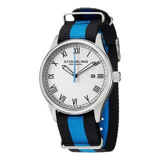 Stuhrling Original Men's Liberty Quartz Blue-and-Black Strap Watch