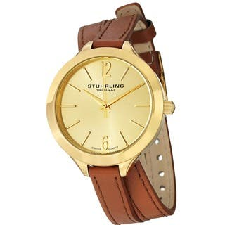 Stuhrling Original Women's Deauville Sport Swiss Quartz Leather Strap Watch|https://ak1.ostkcdn.com/images/products/8504383/P15789309.jpg?impolicy=medium
