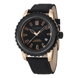 Stuhrling Original Men's Vector Black Swiss Quartz Strap Watch