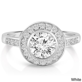 Collette Z Sterling Silver White Bezel Cubic Zirconia Halo Ring (More options available)
