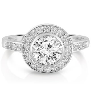 Link to Collette Z Sterling Silver with Rhodium Plated Clear Round Cubic Zirconia Bridal Solitaire with Halo Engagement Ring Similar Items in Rings