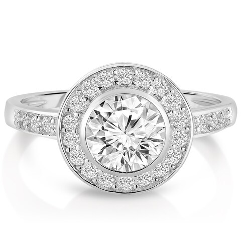 Collette Z Sterling Silver White Bezel Cubic Zirconia Halo Ring