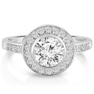 Collette Z Sterling Silver with Rhodium Plated Clear Round Cubic Zirconia Bridal Solitaire with Halo Engagement Ring