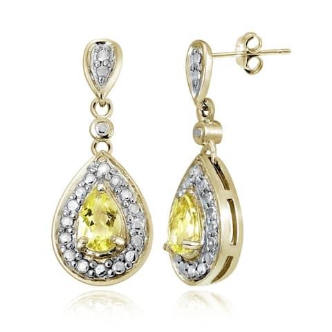 Glitzy Rocks Gemstone and Diamond Accent Teardrop Earrings (I-J, I2-I3)