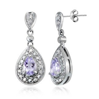 Glitzy Rocks Gemstone and Diamond Accent Teardrop Earrings (I-J, I2-I3)