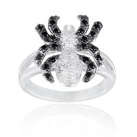 Icz Stonez Black and White Cubic Zirconia Spider Ring