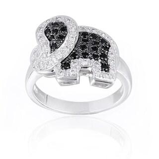 Icz Stonez Black and White Cubic Zirconia Elephant Ring