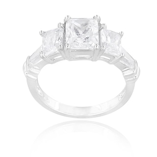 Icz Stonez Sterling Silver Cubic Zirconia Emerald-cut Bridal-style Ring