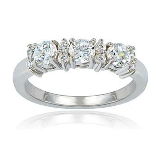 Icz Stonez Silvertone Cubic Zirconia 3-stone Bridal-style Ring