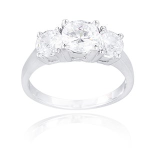 Icz Stonez Sterling Silver Cubic Zirconia 3-stone Bridal-style Ring