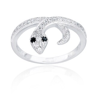 Icz Stonez Sterling Silver Black and White Cubic Zirconia Snake Ring