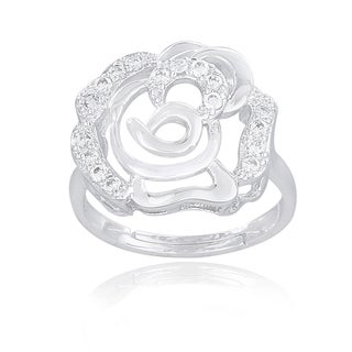 Icz Stonez Sterling Silver Cubic Zirconia Flower Ring