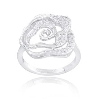 Icz Stonez Silvertone Cubic Zirconia Floral Ring
