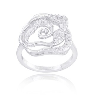 Icz Stonez Silvertone Cubic Zirconia Floral Ring