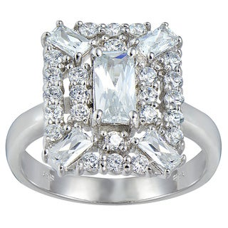 Link to Icz Stonez Sterling Silver White Emerald-cut Cubic Zirconia Bridal-style Ring Similar Items in Rings