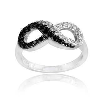 Icz Stonez Silvertone Black and White Cubic Zirconia Infinity Ring (More options available)