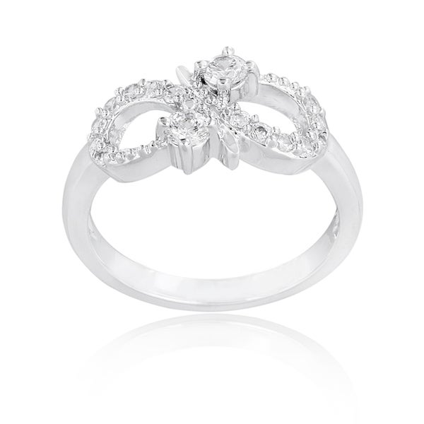 Icz Stonez Silvertone Cubic Zirconia Infinity Ring
