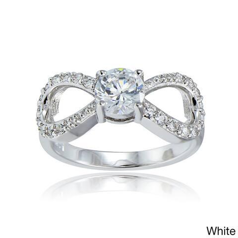 Icz Stonez Silvertone Cubic Zirconia Bow Tie Infinity Ring