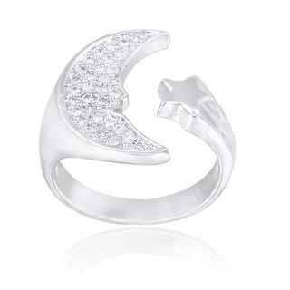 Icz Stonez Silvertone Cubic Zirconia Moon and Star Ring