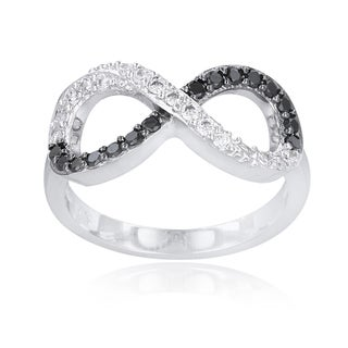 Icz Stonez Silvertone Brass Black And White Cubic Zirconia Infinity Ring