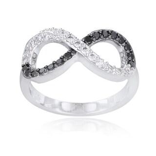 Icz Stonez Silvertone Brass Black and White Cubic Zirconia Infinity Ring