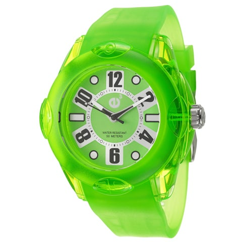 Tendence Women's 'Rainbow XL' Neon Green Polycarbonate Quartz Watch