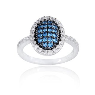 Icz Stonez Sterling Silver Blue, Black and White Cubic Zirconia Oval Ring