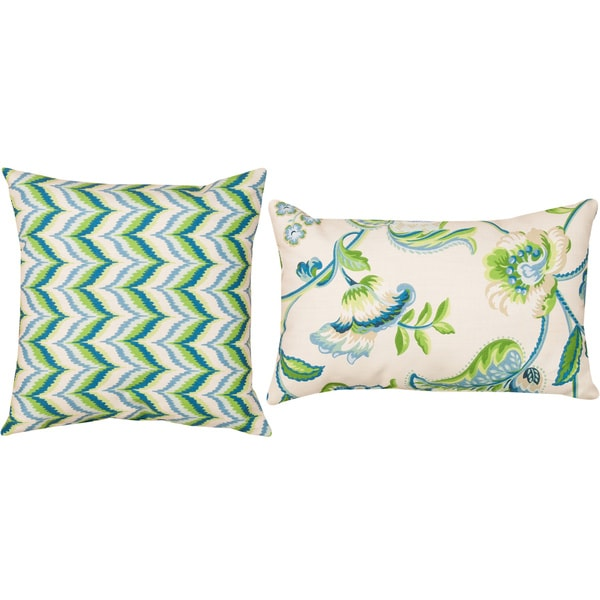 Archer/ Borden Capri Blue Indoor/ Outdoor Throw Pillows (Set of 2)