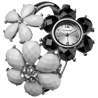 Vernier Women's Quartz Black/ White Enamel Flower Bangle Watch