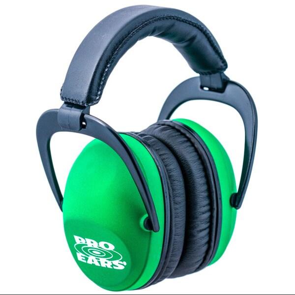 Pro Ears NRR 26 Ultra Sleek Neon Green Hearing Protection Ear Muffs