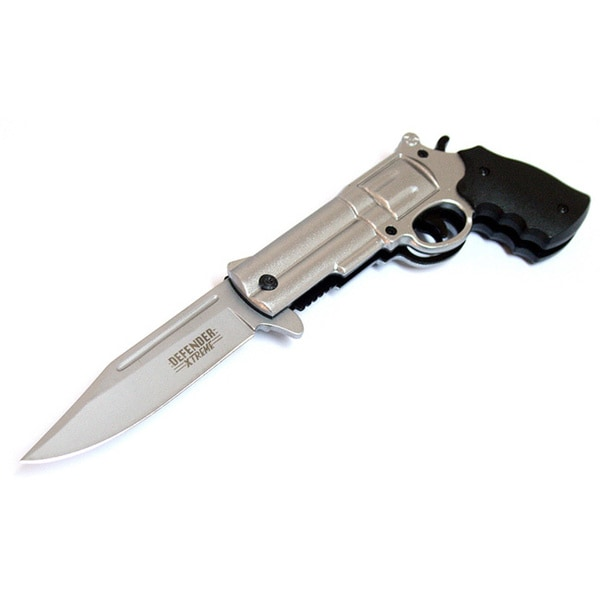 Defender 8.5-inches Silver Gun Spring Assisted Folding Knife