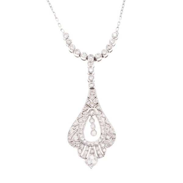 18k White Gold 1ct TDW Estate Antique Necklace (G-H, VS1-VS2)