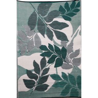 b.b.begonia Natura Reversible Design Green and White Outdoor Area Rug (4' x 6')