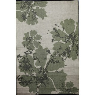 b.b.begonia Boca Reversible Design Green and Brown Outdoor Area Rug (4' x 6') - 4' x 6'