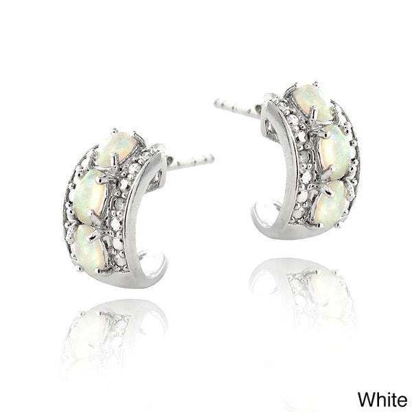Glitzy Rocks Silvertone Opal And Diamond Accent Earrings