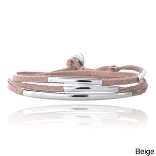 Mondevio Silvertone Bar and Suede Triple Wrap Bracelet (More options available)