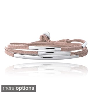 Mondevio Silvertone Bar and Suede Triple Wrap Bracelet